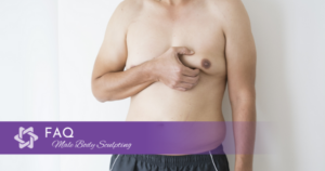 Close up of man pinching his chest fat