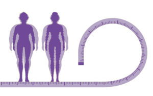 Illustration of male and female weight loss concept
